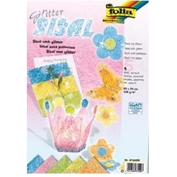 Sizalio pluošto lapų rinkinys pastelinių spalvų, 5 lapai, FOLIA