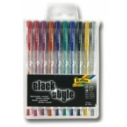 Geliniai rašikliai ''BLACK STYLE'' metalic 10 sp. 1 mm