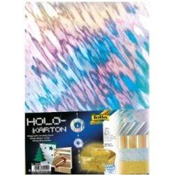 """Holografinis kartonas """"3D folija"""", FOLIA, 5 lapai įvairių spalvų"""
