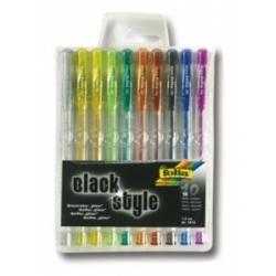 Geliniai rašikliai ''BLACK STYLE'' glitter FOLIA su blizgučiais 10 sp. 1 mm