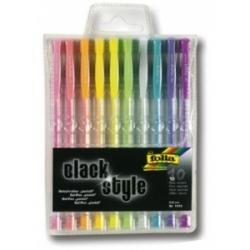 Geliniai rašikliai ''BLACK STYLE'' pastell FOLIA 10 sp. 1 mm