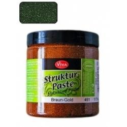 """Struktūrinė pasta su blizgučiais Viva Decor """"Strukturpaste"""", 250 ml. žalios+aukso sp. (Nr. 703)"""