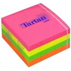 Lipnių neoninių lapelių kubas TARTAN, 400 lap., 76x76 mm, 1 vnt.