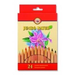 "Spalvoti pieštukai storu korpusu ""JUMBO NATUR"" Koh-I-Noor, 24 spalvų"