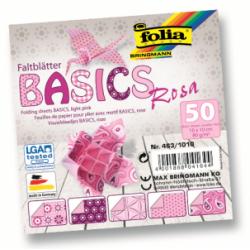 """Origami """"BASICS"""" 50 lapų 10*10 FOLIA, rožiniai motyvai"""