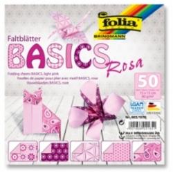 """Origami """"BASICS"""" 50 lapų 15*15 FOLIA, rožiniai motyvai"""