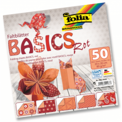 "Origami ""BASICS"" 50 lapų 20*20 FOLIA, raudoni motyvai"