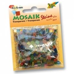 Plytelės mozaikai 5 x 5mm., Transparent, 700 vnt. įvairių sp., FOLIA