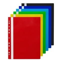 Aplankas su įsegėle ir europerforacija, PP, raudonos spalvos