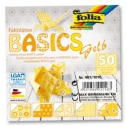 "Origami ""BASICS"" 50 lapų 10x10cm FOLIA, geltoni motyvai"