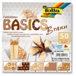 "Origami ""BASICS"" 50 lapų 10*10 FOLIA, rudi motyvai"
