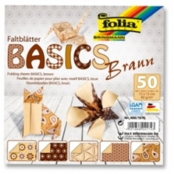 "Origami ""BASICS"" 50 lapų 15*15 FOLIA, rudi motyvai"