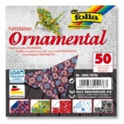 """Origami """"ORNAMENT"""" 50 lapų 10*10 FOLIA, įvairūs motyvai"""