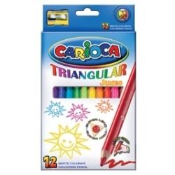 Spalvoti pieštukai storu korpusu 3-jų ribų CARIOCA, 12 spalvų
