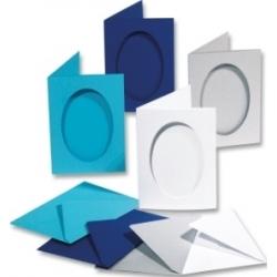 Ruošinys atvirutėms, mėlynos spalvos – ovalus, FOLIA 5 vnt