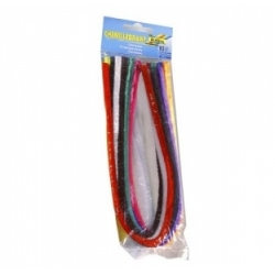 Šenilinės virvutės su vielute 50 cm, 10 vnt. įvairių spalvų