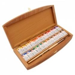 """Akvarelinių dažų rinkinys """"Belye noči"""" medinėje dėžutėje, 24 spalvų"""