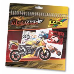 """Spalvinimo knyga su trafaretais ir lipdukais, """"Motociklai"""" FOLIA, 26x24cm."""