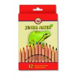 "Spalvoti pieštukai storu korpusu ""JUMBO NATUR"" Koh-I-Noor, 12 spalvų"