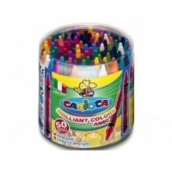 Vaškiniai pieštukai JUMBO CARIOCA, 50 spalvų