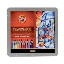 """Spalvoti pieštukai dailei """"POLYCOLOR"""" Koh-I-Noor, 48 spalvų"""