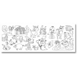 Lipnus popierius piešimui/spalvinimui rulone su piešiniais (30*400cm), FOLIA