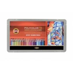 """Spalvoti pieštukai dailei """"POLYCOLOR"""" Koh-I-Noor, 72 spalvų"""