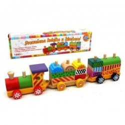 Traukinukas medinis su kaladėlėmis