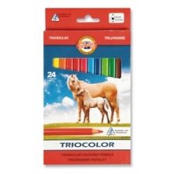 """Spalvoti pieštukai tribriauniai """"Triocolor Jumbo"""" Koh-I-Noor, 24 spalvų"""
