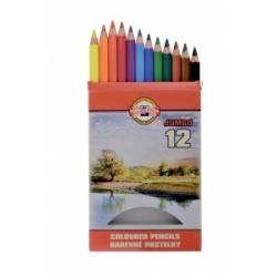 "Spalvoti pieštukai storu korpusu ""JUMBO OMEGA "" Koh-I-Noor, 12 spalvų"