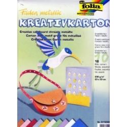 """Tekstūrinis kartonas """"Metalinės gijos"""" 10 lapų, FOLIA"""