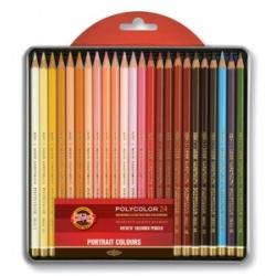 """Spalvoti pieštukai dailei """"POLYCOLOR"""" """"PORTRETAS"""" Koh-I-Noor, 24 spalvų"""