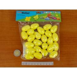 Polistirolo kiaušinių rinkinys 24vnt. 3x2cm,  geltonos spalvos su blizgučiais