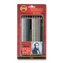 Akvareliniai pieštukai dailei Koh-I-Noor, 12 pieštukų pilkų atspalvių