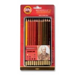 Akvareliniai pieštukai dailei Koh-I-Noor, 12 pieštukų rudų atspalvių