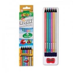 """Spalvoti pieštukai tribriauniai su drožtuku """"Kolori Premium Metallic"""" PENMATE, 6 spalvų"""
