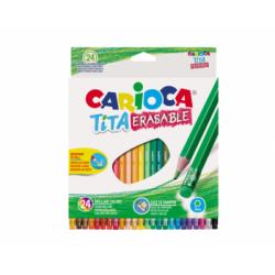 Spalvoti pieštukai tribriauniai su trintuku TITA CARIOCA, 24 spalvų