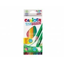 Spalvoti pieštukai tribriauniai su trintuku TITA CARIOCA, 12 spalvų