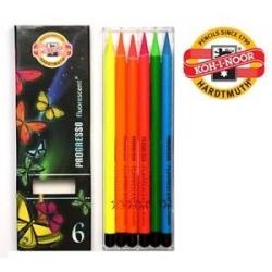 Fluorescencinių spalvotų pieštukų rinkinys PROGRESSO, 6 spalvų