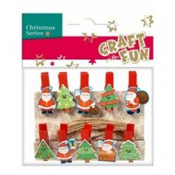 """Kalėdiniai mediniai segtukai """"Santa ir eglutės"""" CRAFT-FUN, 10 vnt."""