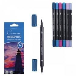 """Akvarelinių markerių rinkinys """"SONET"""" """"Jūros panorama"""", dvipusiai, 6 spalvų"""