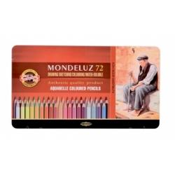 """Akvareliniai pieštukai """"Mondeluz"""" Koh-I-Noor, 72 spalvų metalinėje dėžutėje"""