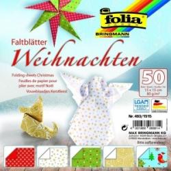 """Origami """"X-MAS"""" 50 lapų 15*15 FOLIA, įvairūs motyvai"""