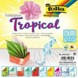 """Origami """"TROPICAL"""" 50 lapų 15*15 FOLIA, įvairūs motyvai"""