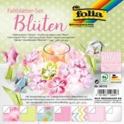 """Origami popierius rinkinys """"Blossoms"""" 50 lapų 15*15cm. ir 120 lapų 7,5*7*5 cm., pastelinių spalvų FOLIA"""