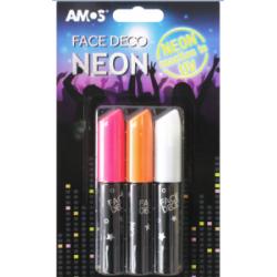 Dekoratyviniai dažai veidui šviečiantys tamsoje NEON AMOS 3 spalvų