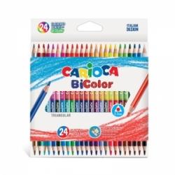 Tribriauniai dvipusiai spalvoti pieštukai BI-COLOR CARIOCA, 24 vnt. - 48 spalvų
