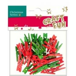 """Mediniai segtukai """"Kalėdos"""" raudonos ir žalios spalvos CRAFT-FUN, 40 vnt."""