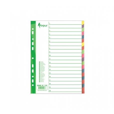 Plastikiniai spalvoti skiriamieji lapai, 1-20, A4