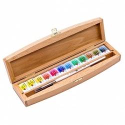 """Akvarelinių dažų rinkinys """"Belye noči"""" medinėje dėžutėje, 12 spalvų"""